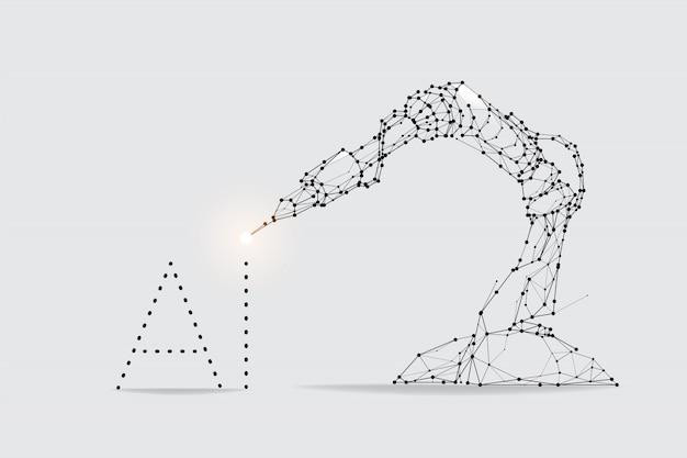 로봇 팔 기계의 입자, 기하학 예술, 선 및 점