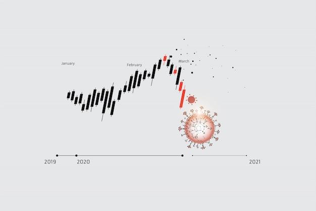 株価チャートの粒子、幾何学的アート、線、点
