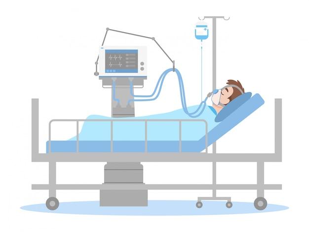 Пациент подключен к аппарату ивл