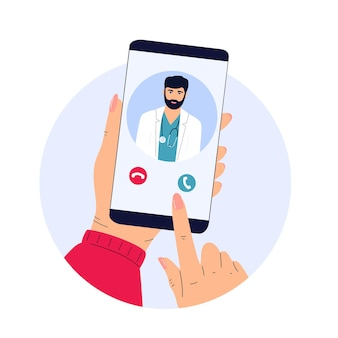 患者はオンラインで医師にビデオ通話を発信します。遠隔医療。
