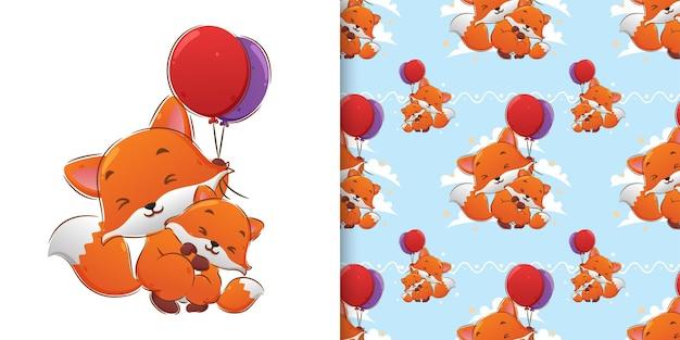Образец иллюстрации лисы, держащей два воздушных шара и летящей с ними Premium векторы