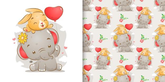 Образец слона с цветным кроликом держит воздушный шар иллюстрации