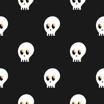두개골의 패턴입니다. 검정색 배경에 두개골입니다. 만화 완벽 한 패턴입니다. 끝없는 질감. 할로윈을 위한 밝고 세련된 디자인
