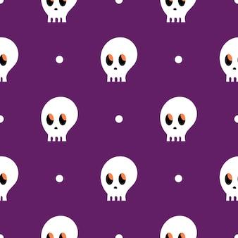 두개골의 패턴입니다. 보라색 배경에 두개골입니다. 만화 완벽 한 패턴
