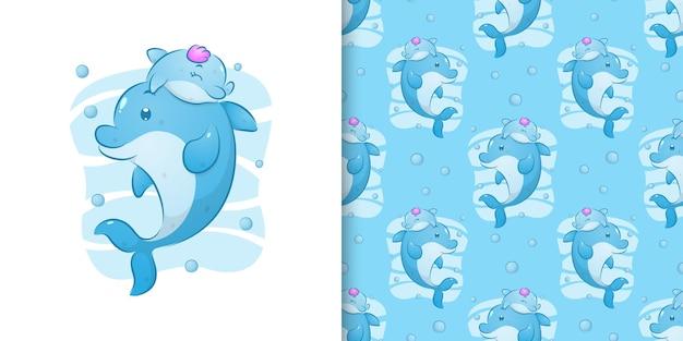 イラストの美しい海の下で母親と一緒に泳ぐ小さなイルカのパターンセット