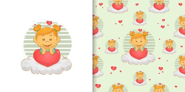 Набор шаблонов акварельной маленькой девочки с кроличьими волосами, сидящей на облаке иллюстрации