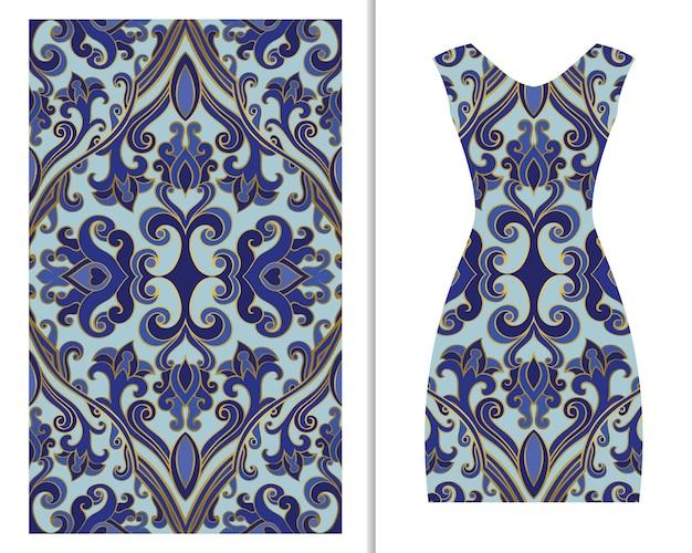 여성용 드레스 장식이 있는 패턴입니다. 푸른 꽃 배경입니다.