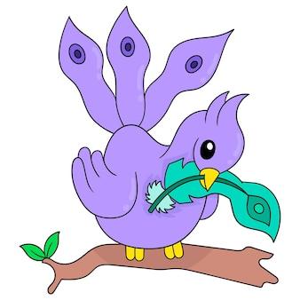 공작은 아름다운 깃털, 벡터 일러스트레이션 아트를 들고 있습니다. 낙서 아이콘 이미지 귀엽다.
