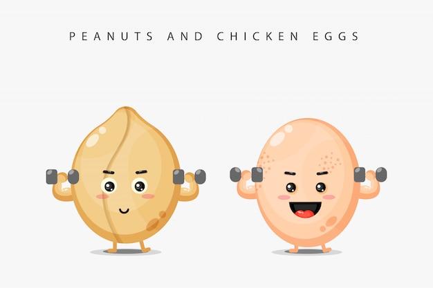 Арахисовый талисман и куриное яйцо поднимают штангу