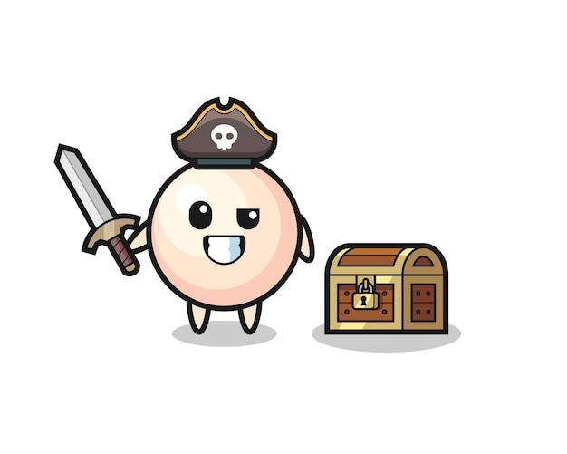 宝箱の横に剣を持っている真珠の海賊キャラクター、tシャツ、ステッカー、ロゴ要素のかわいいスタイルのデザイン