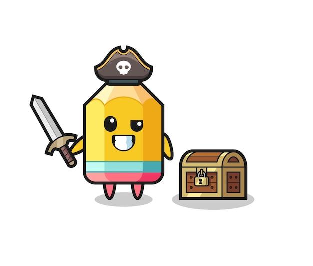 보물 상자 옆에 칼을 들고 있는 연필 해적 캐릭터, 티셔츠, 스티커, 로고 요소를 위한 귀여운 스타일 디자인