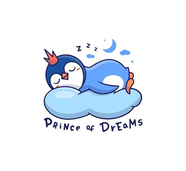 밤에 구름 위에서 자고있는 펭귄. 작은 만화 아기