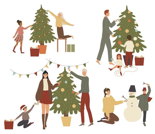クリスマスセットを取得する人々