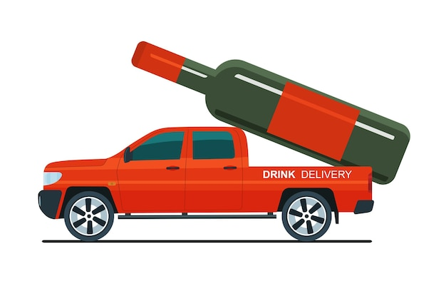 ピックアップトラックは後ろにアルコールのボトルを運んでいます。配送サービスのコンセプト。ベクトルイラスト。