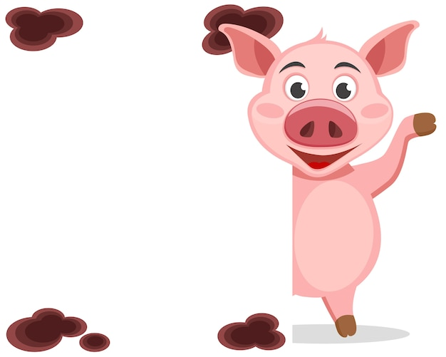 豚は白い盾の後ろから外を見て、ひづめを振っています。はがき。