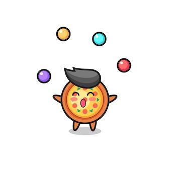 공을 저글링하는 피자 서커스 만화, 티셔츠, 스티커, 로고 요소를 위한 귀여운 스타일 디자인