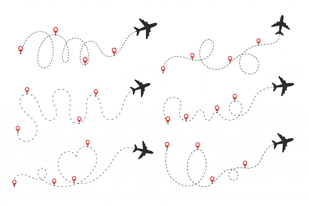 Самолет следует пунктирной линии. рейсы, путешествующие из пункта отправления в пункт назначения на карте мира.