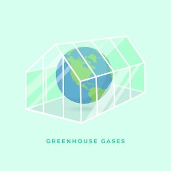 투명 유리 온실에 있는 행성 지구. 온실 가스 또는 온실 효과 개념.