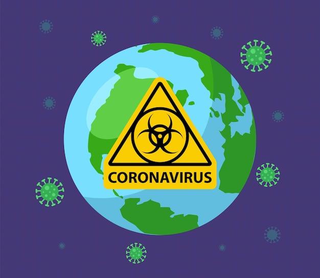 지구가 코로나 바이러스에 감염되었습니다. 노란색 기호 생물 무기. 평면 벡터 일러스트 레이 션.