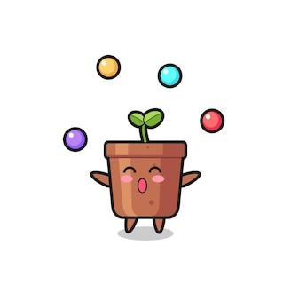 공을 저글링하는 식물 냄비 서커스 만화, 티셔츠, 스티커, 로고 요소를 위한 귀여운 스타일 디자인