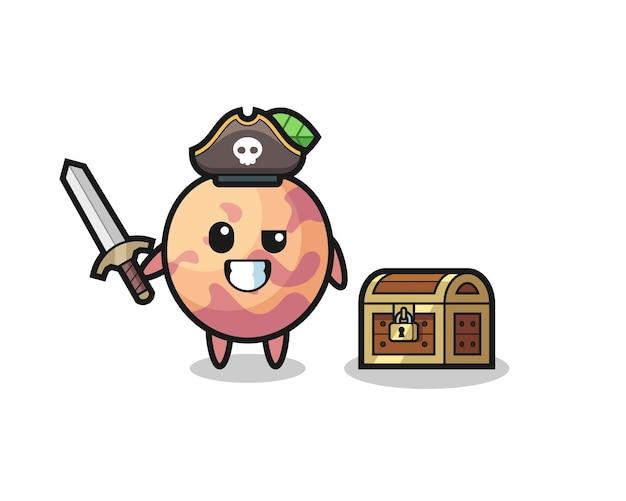 宝箱の横に剣を持っているプルオットフルーツ海賊キャラクター、tシャツ、ステッカー、ロゴ要素のかわいいスタイルのデザイン