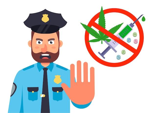Полиция останавливается для поиска наркотиков Premium векторы
