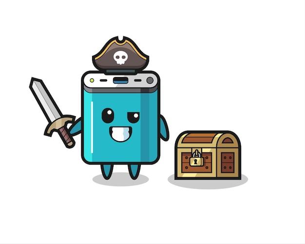 Пиратский персонаж power bank, держащий меч рядом с сундучком с сокровищами, симпатичный дизайн футболки, стикер, элемент логотипа