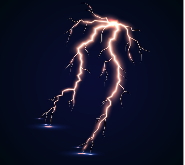 Сила молнии и ударного разряда, грома, сияния. изолированный громовой удар.