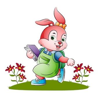 예쁜 토끼가 삽화 학교에 가요