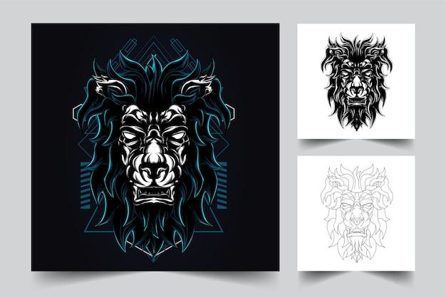 ライオンの闇の神聖幾何学のロゴを作成するプロセス