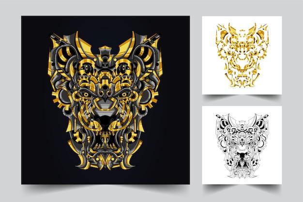 ライオンの装飾用ゴールドロゴを作成するプロセス