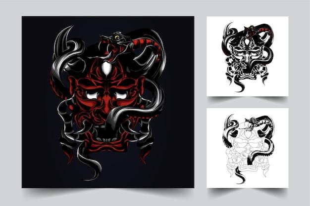 鬼サタンヘビのロゴを作成するプロセス