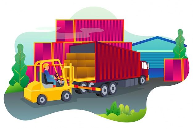非常に忙しい港でコンテナ内の商品を移動するプロセス。