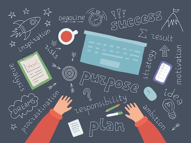 成功へのステップを計画するプロセス。動機、先延ばし、インスピレーション。計画や戦略を考えるシンボル。