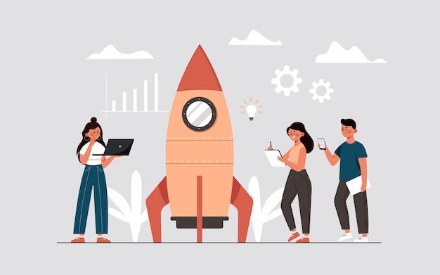 계획 및 전략 시간 관리 구현을 통해 비즈니스 프로젝트 아이디어를 시작하는 과정 메신저를 가진 사람들이 로켓 형태의 스타트업을 시작합니다.