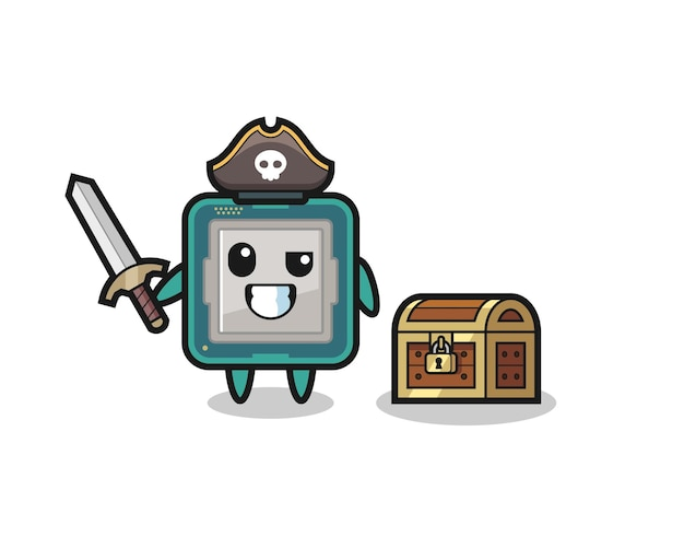 宝箱の横に剣を持っているプロセッサ海賊キャラクター、tシャツ、ステッカー、ロゴ要素のかわいいスタイルのデザイン