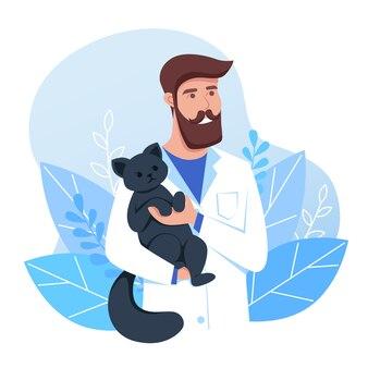 직업은 수의사, 남자는 검은 고양이, 귀여운 애완 동물을 치료하는 수의사