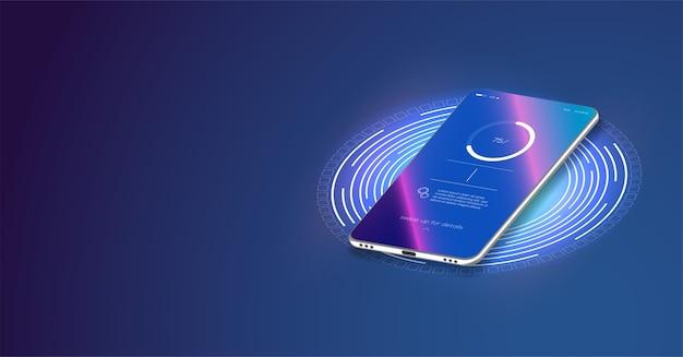 휴대폰 배터리 충전 진행 상황입니다. 미래형 전화는 파란색 배경에 무선으로 충전됩니다.