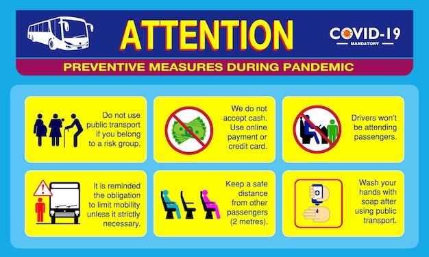 Covid19または健康と安全のプロトコルのための公共交通機関のポスターまたは公衆衛生慣行