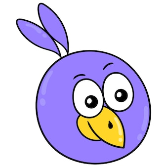 紫色の鳥の頭が幸せそうに笑っている、ベクトルイラストカートン絵文字。落書きアイコンの描画