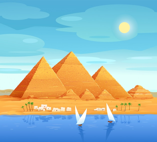 Пирамиды египта. египетские пирамиды на реке. пирамида хеопса в каире, в гизе. египетские каменные сооружения