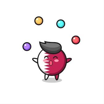공을 저글링하는 카타르 깃발 배지 서커스 만화, 티셔츠, 스티커, 로고 요소를 위한 귀여운 스타일 디자인
