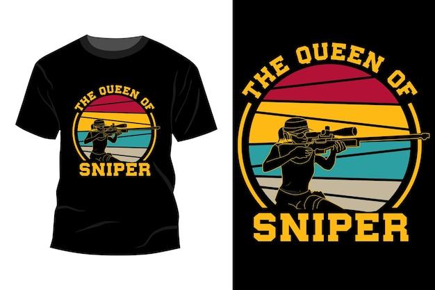 Королева снайпера дизайн футболки винтаж ретро