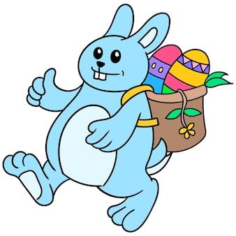Кролик принес корзину с пасхальными яйцами, чтобы поделиться, каракули рисовать каваи. искусство иллюстрации