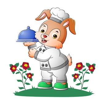 토끼 웨이터가 삽화의 움직일 수 있는 덮개 음식을 들고 있다