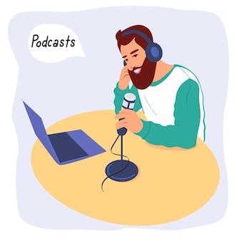 라디오 진행자가 팟캐스트를 녹음하고 있습니다. 라디오 호스트가 미디어에서 방송합니다. 프리미엄 벡터