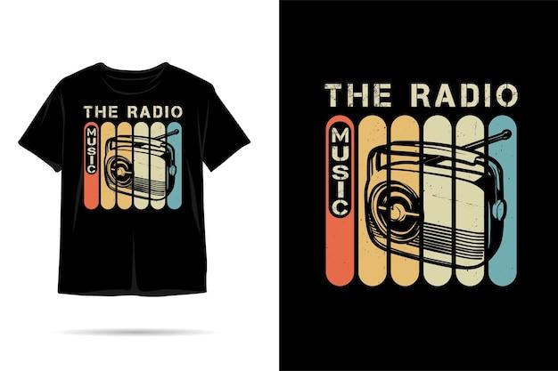 ラジオ音楽のシルエットtシャツのデザイン