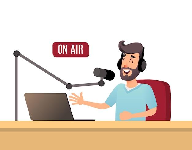 라디오 발표자가 방송 중