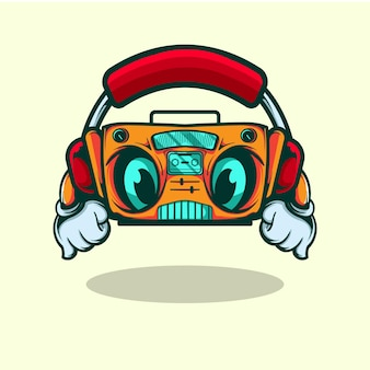 라디오 벡터 캐릭터가 헤드폰으로 음악을 듣습니다.