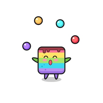 ボールをジャグリングするレインボーケーキサーカス漫画、tシャツ、ステッカー、ロゴ要素のかわいいスタイルのデザイン